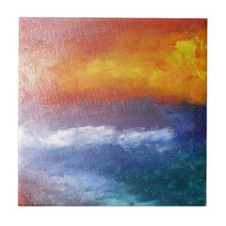 Puesta del sol abstracta de la playa azulejo cuadrado pequeño