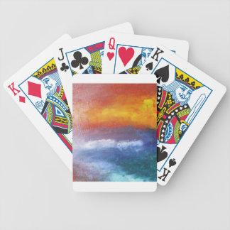 Puesta del sol abstracta de la playa baraja cartas de poker