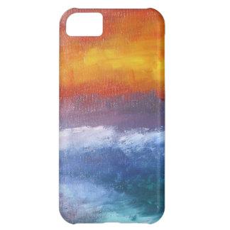 Puesta del sol abstracta de la playa funda para iPhone 5C