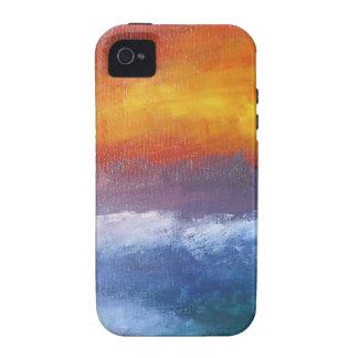 Puesta del sol abstracta de la playa iPhone 4 fundas