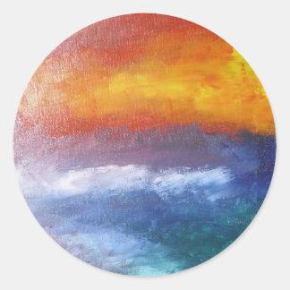 Puesta del sol abstracta de la playa pegatina redonda