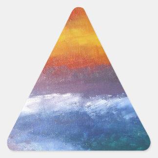 Puesta del sol abstracta de la playa pegatina triangular