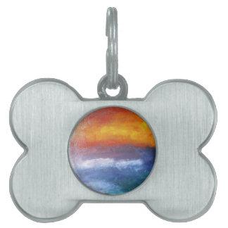 Puesta del sol abstracta de la playa placas de nombre de mascota