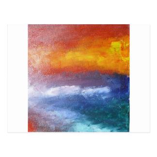 Puesta del sol abstracta de la playa postales