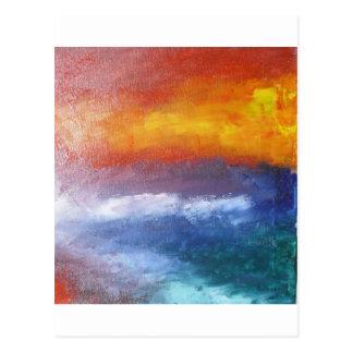 Puesta del sol abstracta de la playa tarjeta postal