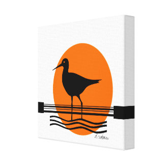 Puesta del sol abstracta del pájaro impresión en lona estirada