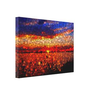 Puesta del sol abstracta impresiones en lona estiradas