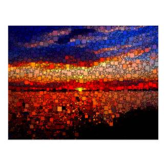 Puesta del sol abstracta postales