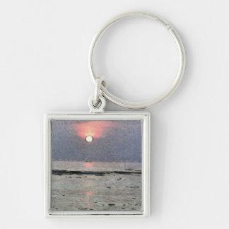 Puesta del sol acuosa llavero cuadrado plateado