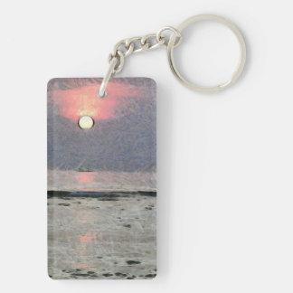 Puesta del sol acuosa llavero rectangular acrílico a doble cara