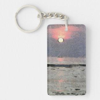 Puesta del sol acuosa llavero rectangular acrílico a una cara