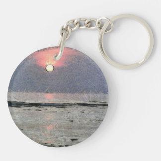 Puesta del sol acuosa llavero redondo acrílico a doble cara