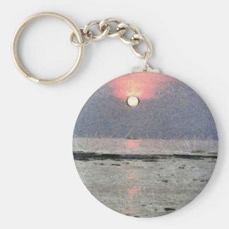 Puesta del sol acuosa llavero redondo tipo pin