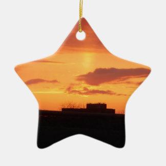 Puesta del sol adorno navideño de cerámica en forma de estrella