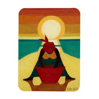 Puesta del sol africana 2009 iman de vinilo