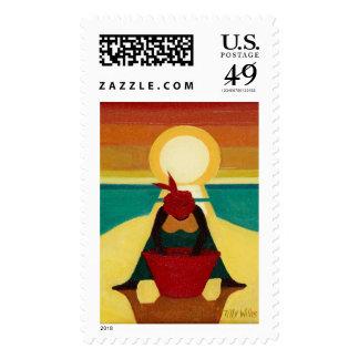 Puesta del sol africana 2009 timbre postal