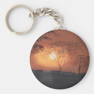 Puesta del sol africana llavero redondo tipo pin
