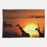 Puesta del sol africana maravillosa toallas de mano