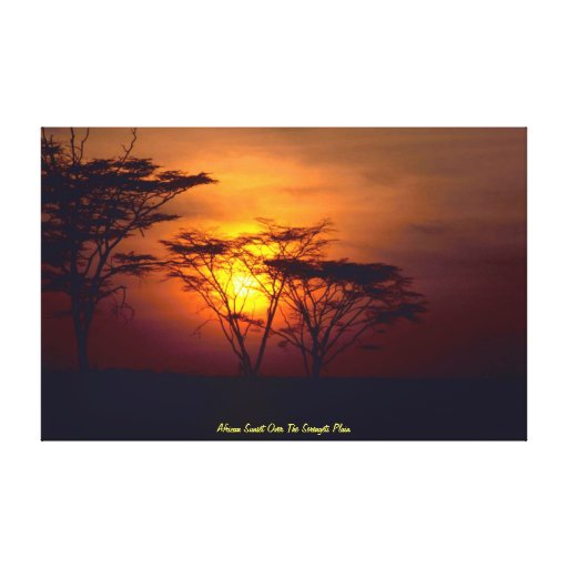 Puesta del sol africana sobre el llano de Serenget Impresión En Lona Estirada