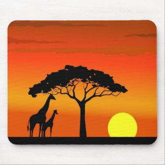 Puesta del sol africana tapete de ratón