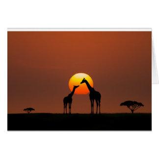 Puesta del sol africana tarjeta de felicitación
