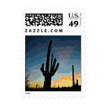Puesta del sol al sudoeste del cactus del Saguaro