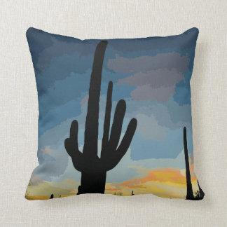 Puesta del sol al sudoeste del cactus del Saguaro Almohadas