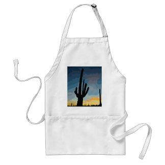 Puesta del sol al sudoeste del cactus del Saguaro  Delantal
