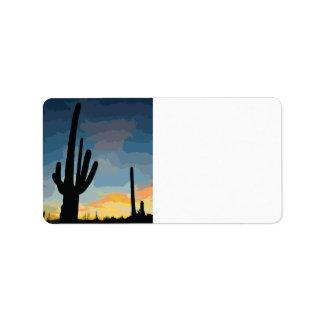 Puesta del sol al sudoeste del cactus del Saguaro  Etiquetas De Dirección