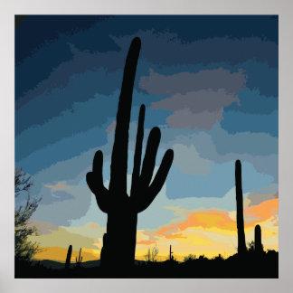 Puesta del sol al sudoeste del cactus del Saguaro Impresiones