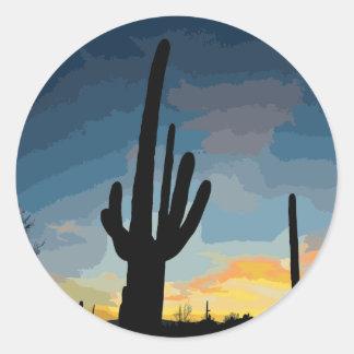 Puesta del sol al sudoeste del cactus del Saguaro Pegatina Redonda
