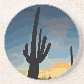 Puesta del sol al sudoeste del cactus del Saguaro  Posavasos Manualidades