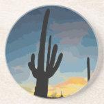 Puesta del sol al sudoeste del cactus del Saguaro  Posavasos Personalizados