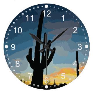 Puesta del sol al sudoeste del cactus del Saguaro  Reloj Redondo Grande