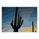Puesta del sol al sudoeste del cactus del Saguaro Tarjeta Pequeña