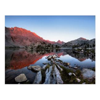 Puesta del sol Alpenglow del lago evolution - Tarjeta Postal