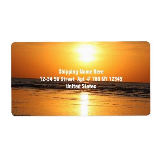 Puesta del sol amarilla hermosa 2 etiqueta de envío