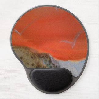 Puesta del sol anaranjada alfombrilla con gel
