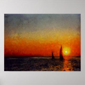 Puesta del sol anaranjada ardiente en el lago Mich Póster