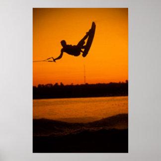 Puesta del sol anaranjada brillante del poster del