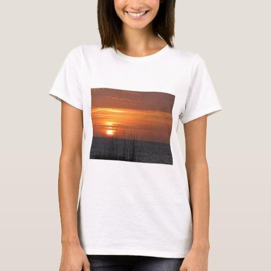 Puesta del sol anaranjada la Florida Playera