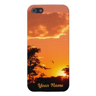 Puesta del sol anaranjada preciosa con las silueta iPhone 5 carcasas