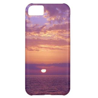 Puesta del sol anaranjada púrpura de la Florida