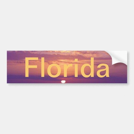 Puesta del sol anaranjada púrpura de la Florida Pegatina De Parachoque