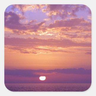 Puesta del sol anaranjada púrpura de la Florida Pegatina Cuadrada