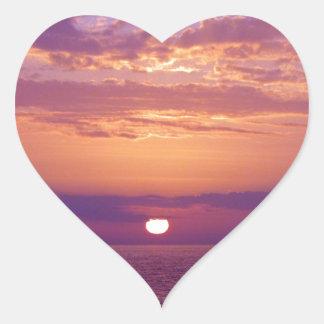 Puesta del sol anaranjada púrpura de la Florida Pegatina En Forma De Corazón