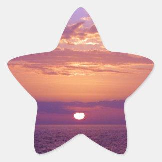 Puesta del sol anaranjada púrpura de la Florida Pegatina En Forma De Estrella