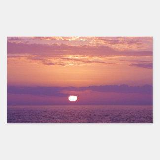 Puesta del sol anaranjada púrpura de la Florida Pegatina Rectangular