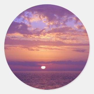 Puesta del sol anaranjada púrpura de la Florida Pegatina Redonda