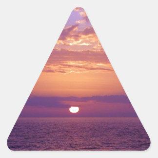 Puesta del sol anaranjada púrpura de la Florida Pegatina Triangular